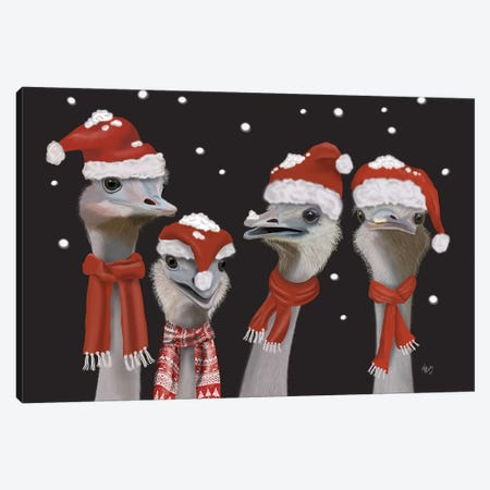 Ostrich, Christmas Gals Canvas Print #FNK730} by Fab Funky Canvas Art