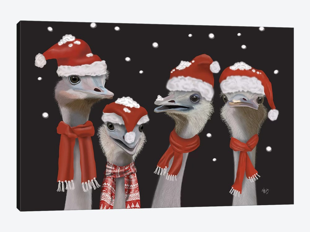 Ostrich, Christmas Gals by Fab Funky 1-piece Canvas Art