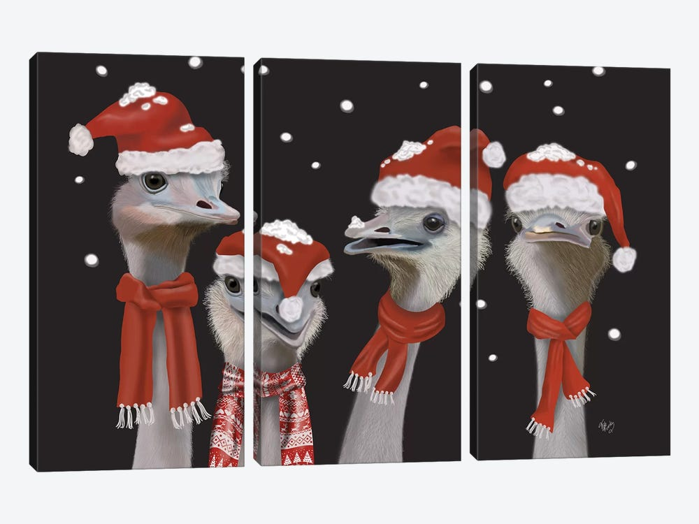 Ostrich, Christmas Gals by Fab Funky 3-piece Canvas Wall Art