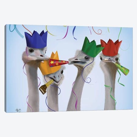 Ostrich, Party Gals Canvas Print #FNK731} by Fab Funky Canvas Wall Art