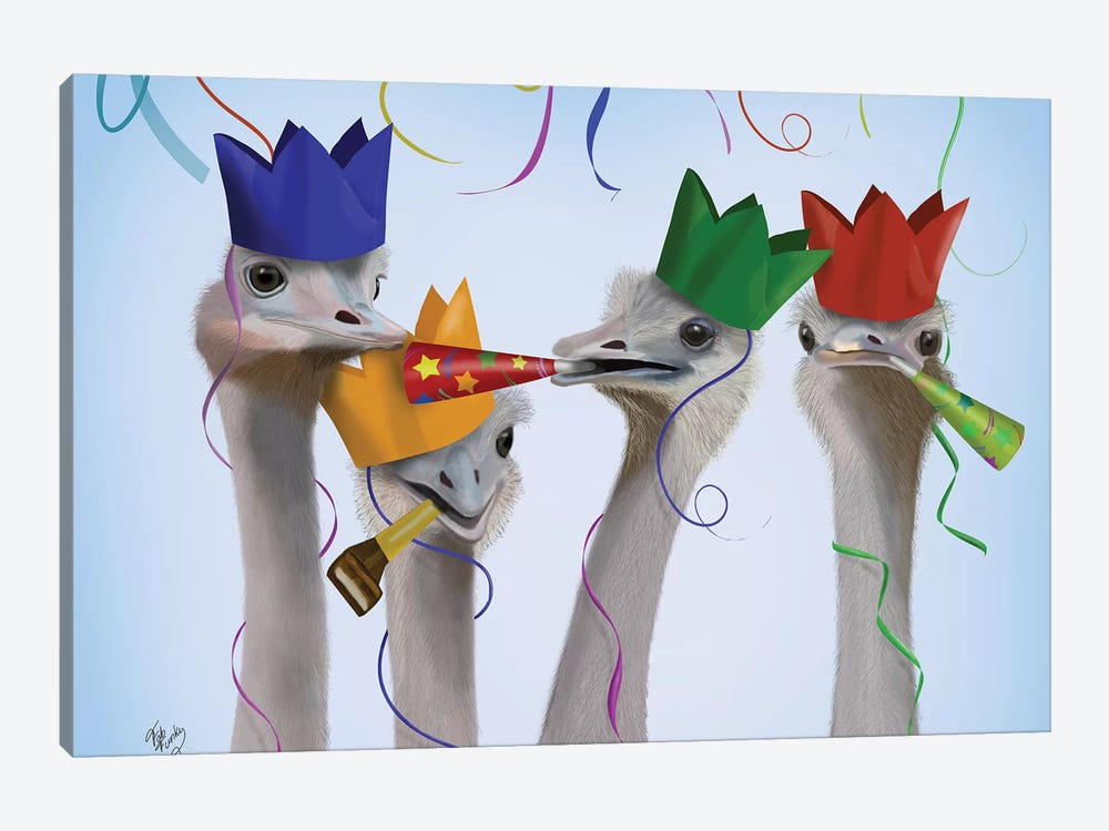 Ostrich, Party Gals by Fab Funky 1-piece Canvas Art Print