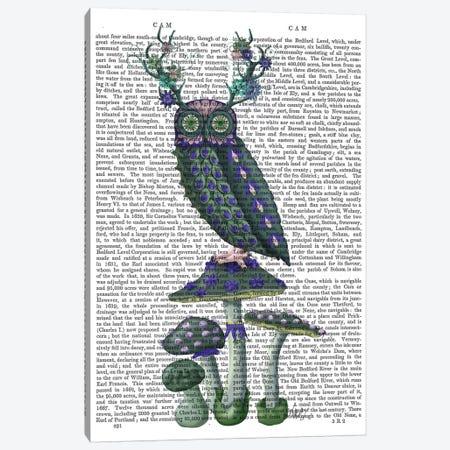 Owl on Mushrooms, Print BG Canvas Print #FNK733} by Fab Funky Canvas Art