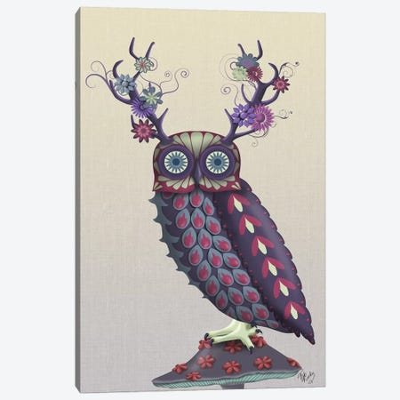 Owl with Psychedelic Antlers Canvas Print #FNK734} by Fab Funky Canvas Art Print