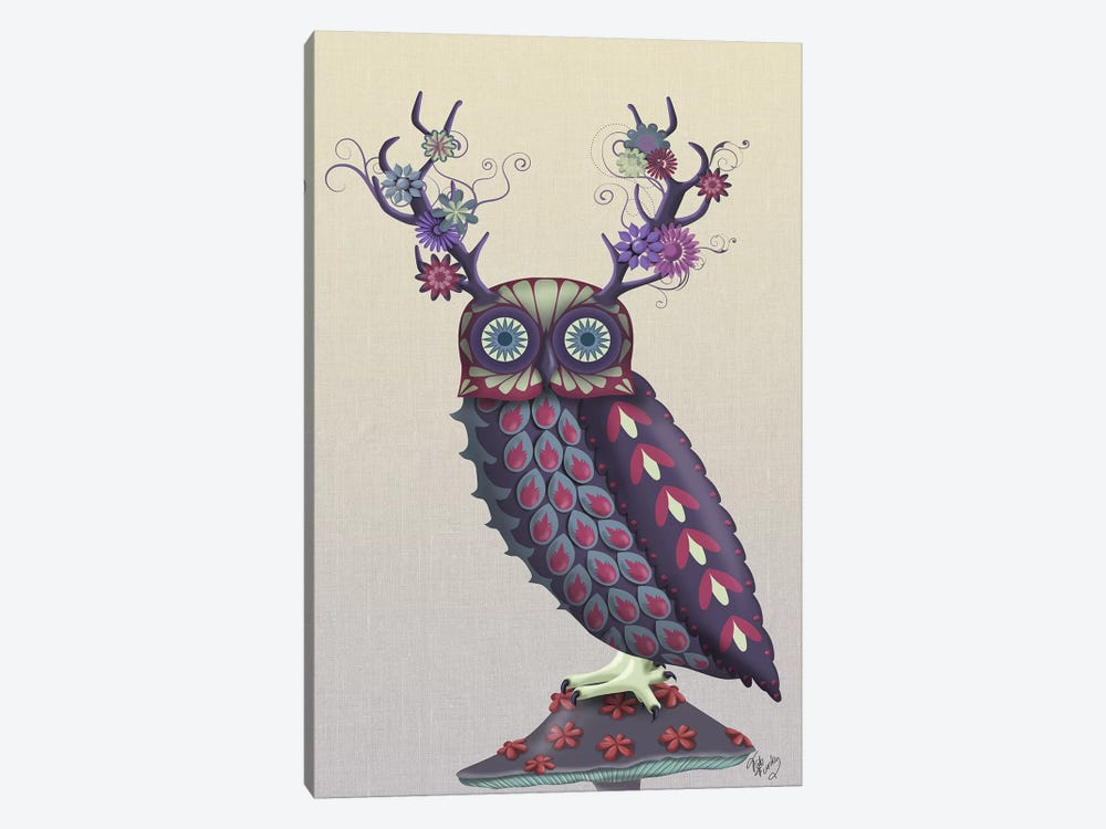 Owl with Psychedelic Antlers by Fab Funky 1-piece Canvas Artwork