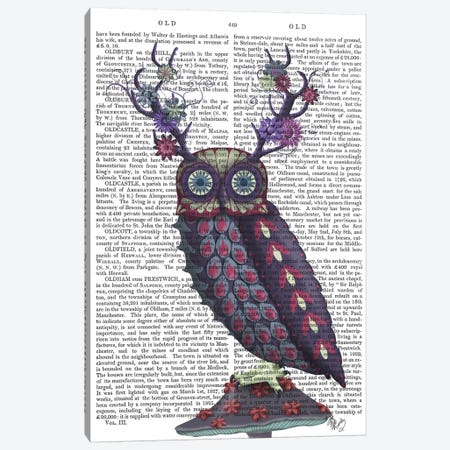 Owl with Psychedelic Antlers, Print BG Canvas Print #FNK735} by Fab Funky Canvas Art Print