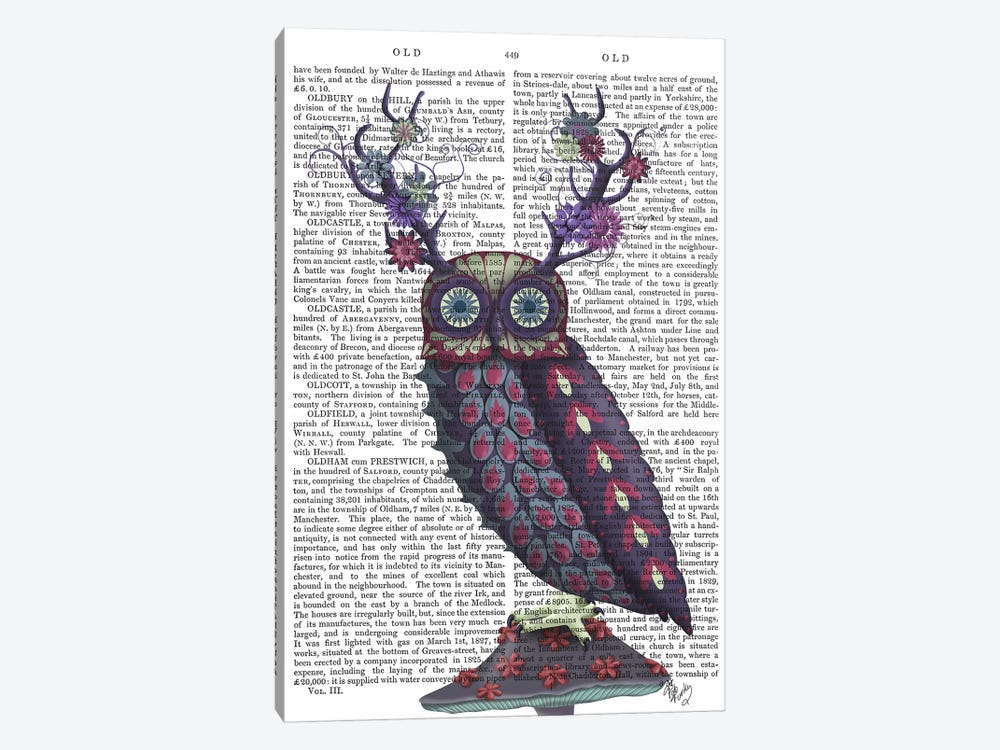 Owl with Psychedelic Antlers, Print BG by Fab Funky 1-piece Canvas Print