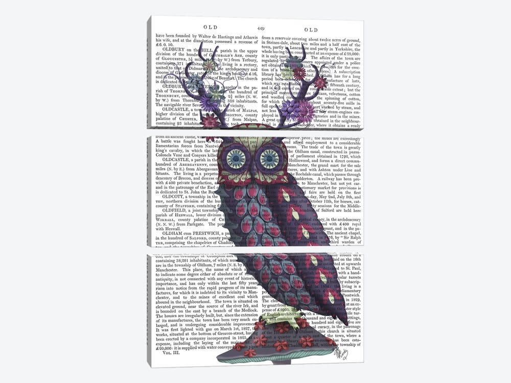 Owl with Psychedelic Antlers, Print BG by Fab Funky 3-piece Canvas Art Print