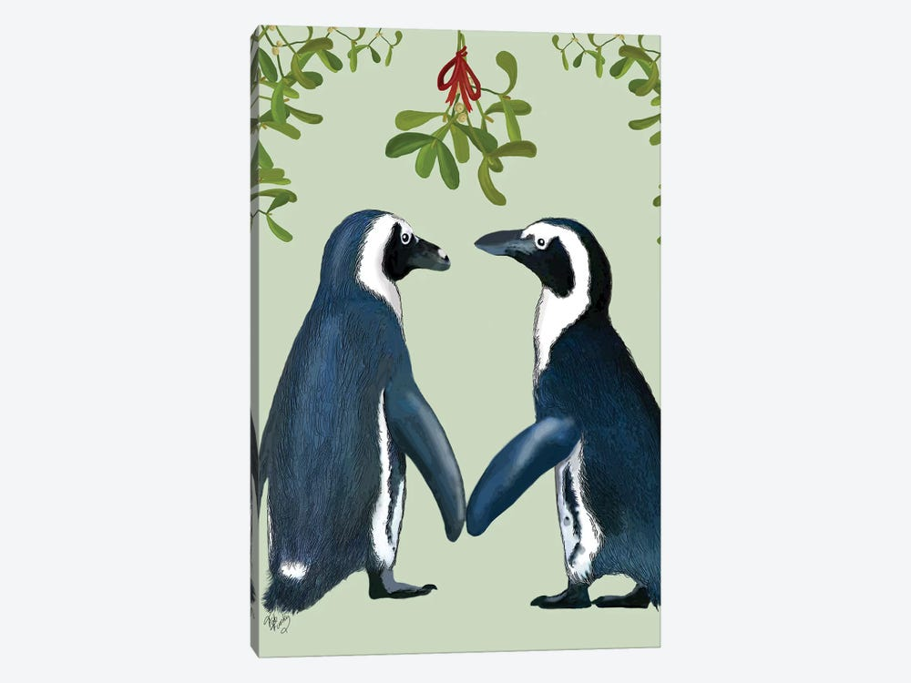Penguins And Mistletoe by Fab Funky 1-piece Art Print