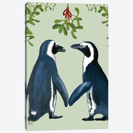 Penguins And Mistletoe Canvas Print #FNK739} by Fab Funky Canvas Artwork