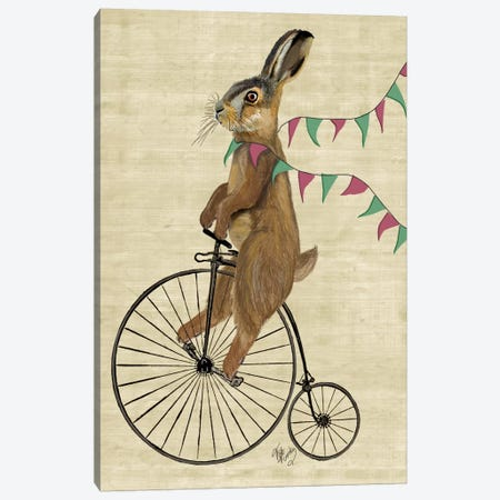 Rabbit On Penny Farthing Canvas Print #FNK73} by Fab Funky Canvas Artwork
