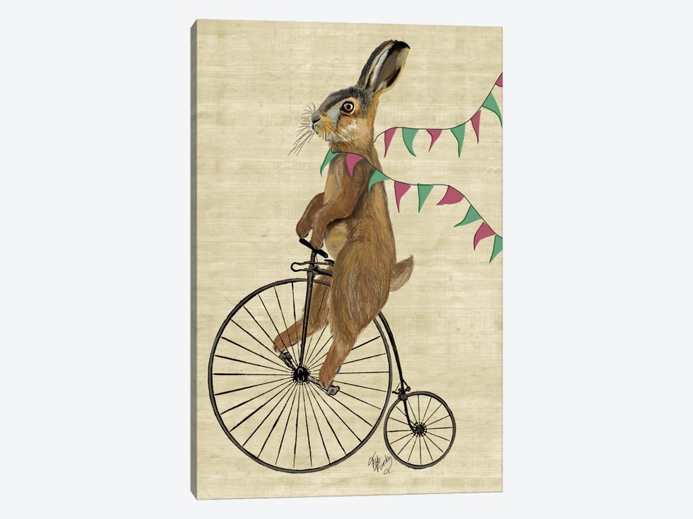 Rabbit On Penny Farthing by Fab Funky 1-piece Canvas Wall Art