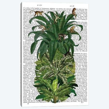 Pineapple, Monkeys, Print BG Canvas Print #FNK740} by Fab Funky Canvas Print