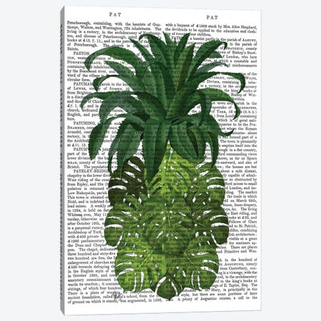 Pineapple, Monstera Leaf, Print BG Canvas Print #FNK741} by Fab Funky Canvas Print