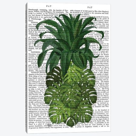 Pineapple, Monstera Leaf, Print BG Canvas Print #FNK741} by Fab Funky Canvas Print
