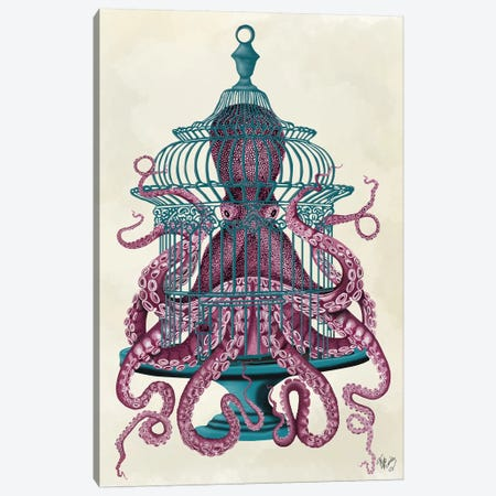Pink Octopus in Cage 3-Piece Canvas #FNK742} by Fab Funky Canvas Art Print