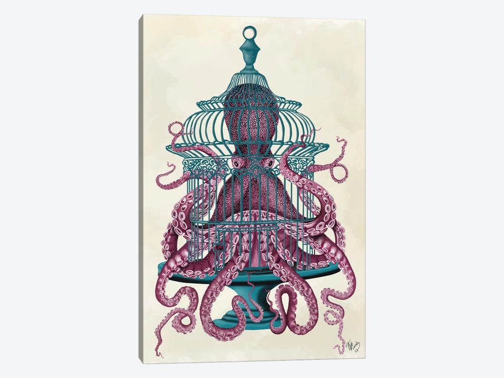 Pink Octopus in Cage by Fab Funky 1-piece Canvas Print