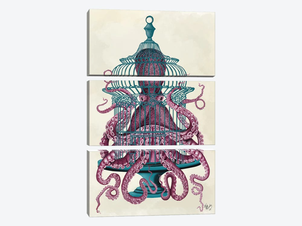 Pink Octopus in Cage by Fab Funky 3-piece Art Print