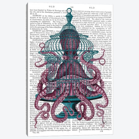 Pink Octopus in Cage, Print BG Canvas Print #FNK743} by Fab Funky Art Print