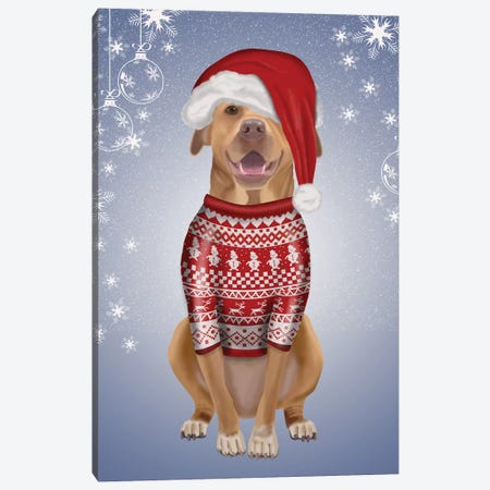 Pitbull in Christmas Sweater Canvas Print #FNK744} by Fab Funky Canvas Wall Art