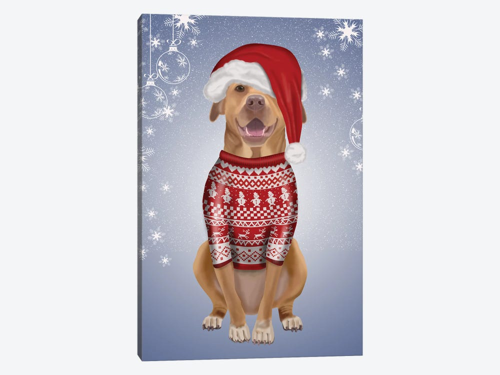 Pitbull in Christmas Sweater by Fab Funky 1-piece Canvas Print