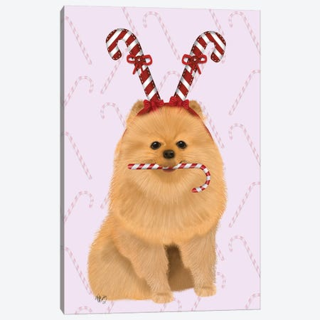 Pomeranian and Candy Canes Canvas Print #FNK746} by Fab Funky Canvas Art