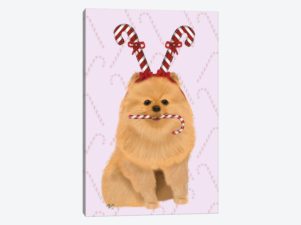 Pomeranian and Candy Canes by Fab Funky 1-piece Canvas Print