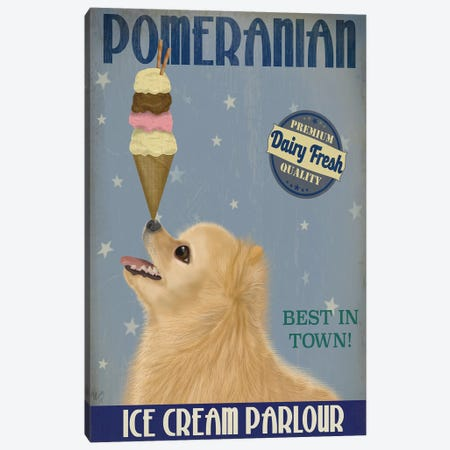 Pomeranian Ice Cream Canvas Print #FNK747} by Fab Funky Canvas Artwork