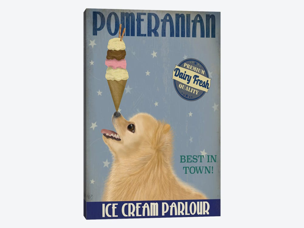 Pomeranian Ice Cream by Fab Funky 1-piece Canvas Wall Art