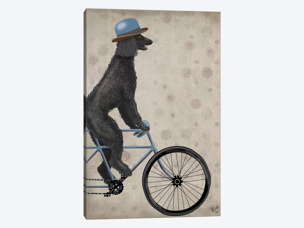Poodle on Bicycle, Black by Fab Funky 1-piece Canvas Art