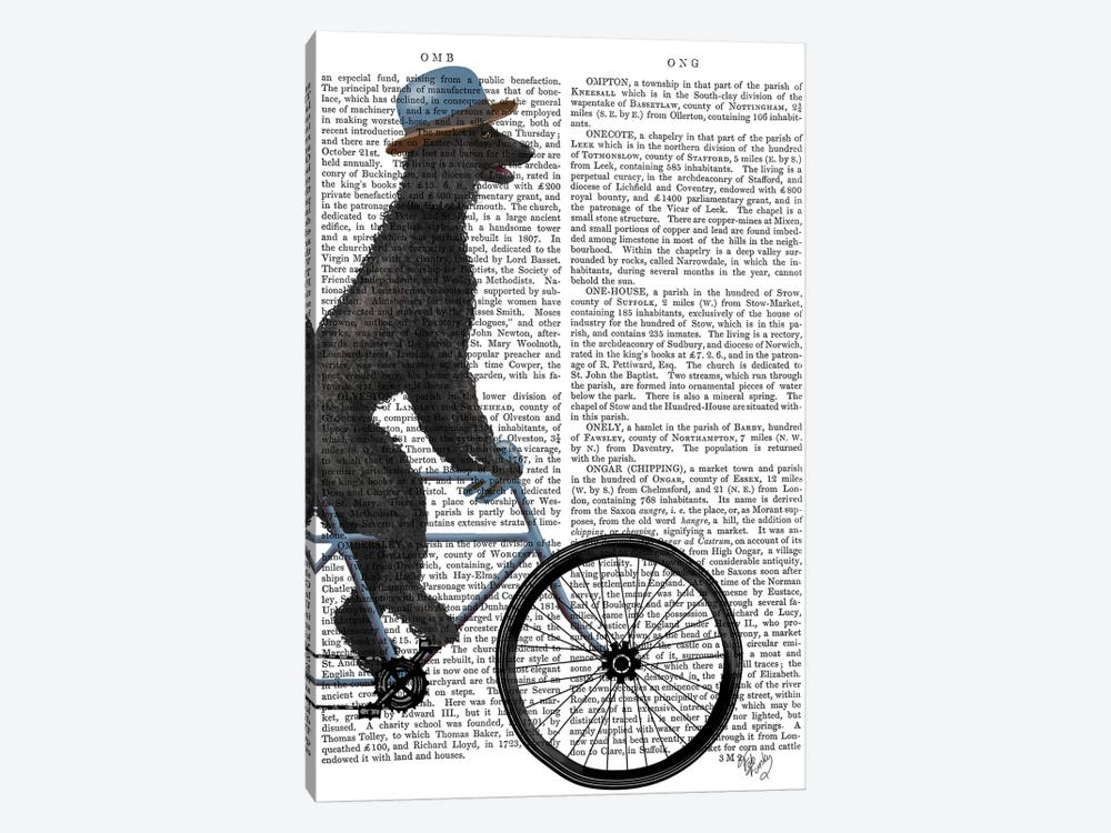 Poodle on Bicycle, Black, Print BG by Fab Funky 1-piece Canvas Art