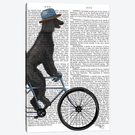 Poodle on Bicycle, Black, Print BG 3-Piece Canvas #FNK750} by Fab Funky Canvas Art