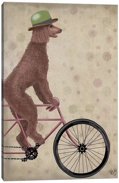 Poodle on Bicycle, Brown Canvas Art Print