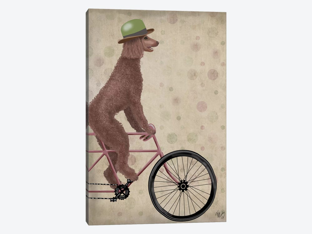 Poodle on Bicycle, Brown by Fab Funky 1-piece Canvas Art Print