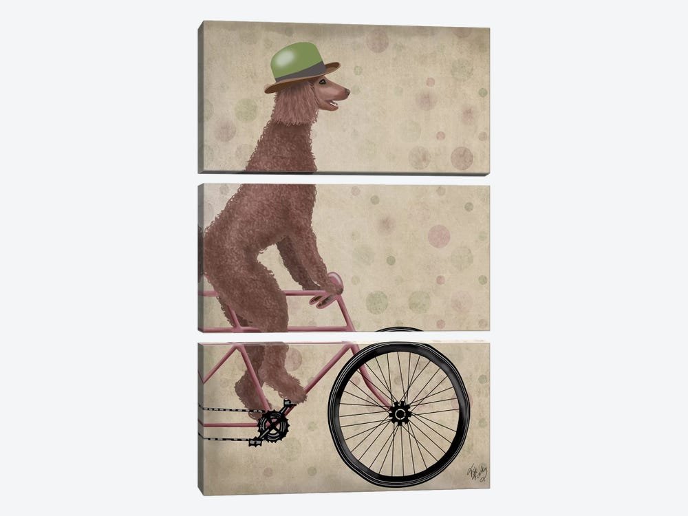 Poodle on Bicycle, Brown by Fab Funky 3-piece Art Print