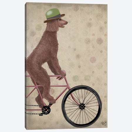 Poodle on Bicycle, Brown 3-Piece Canvas #FNK751} by Fab Funky Canvas Art