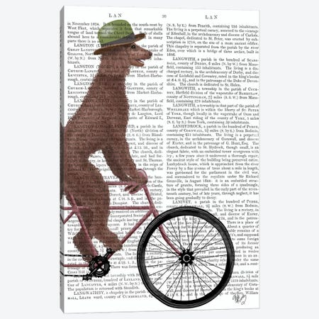 Poodle on Bicycle, Brown, Print BG Canvas Print #FNK752} by Fab Funky Canvas Wall Art