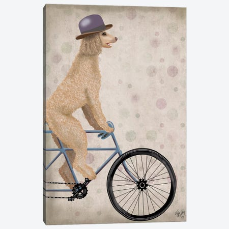 Poodle on Bicycle, Cream Canvas Print #FNK753} by Fab Funky Canvas Art