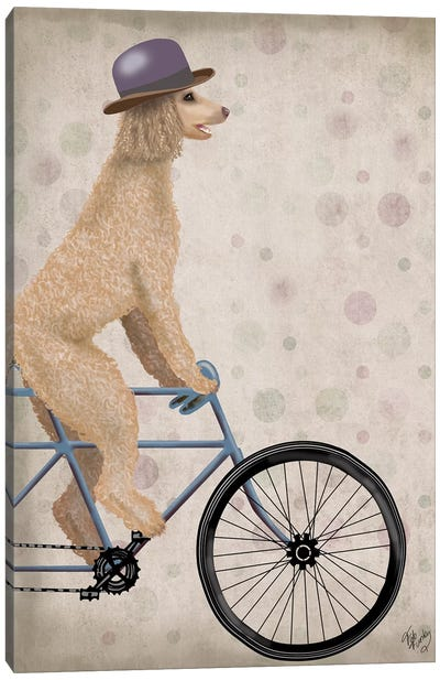 Poodle on Bicycle, Cream Canvas Art Print