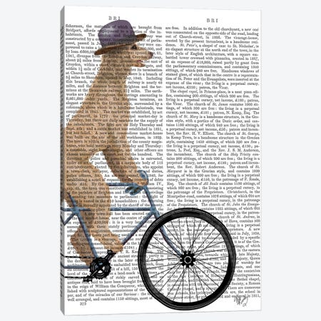 Poodle on Bicycle, Cream, Print BG Canvas Print #FNK754} by Fab Funky Canvas Art Print