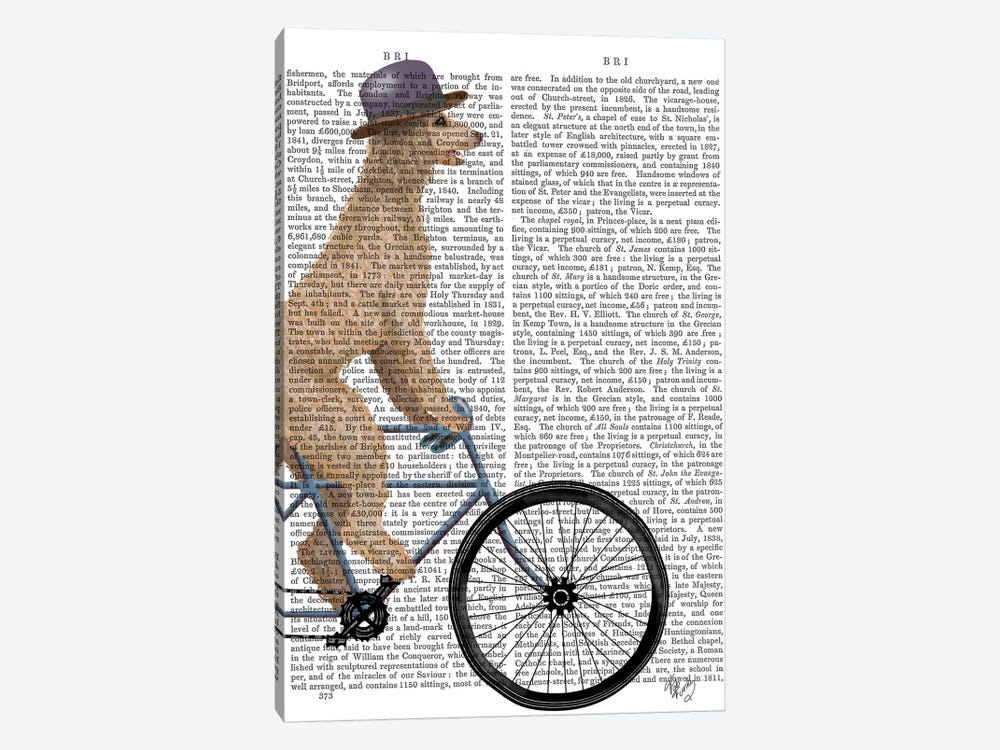 Poodle on Bicycle, Cream, Print BG by Fab Funky 1-piece Canvas Art