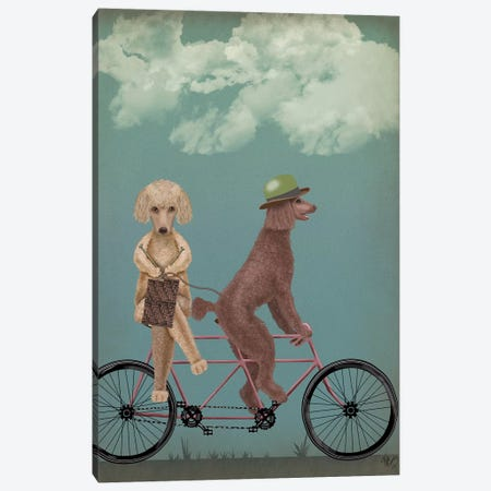 Poodle Tandem Canvas Print #FNK755} by Fab Funky Art Print
