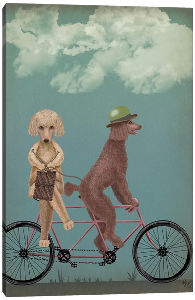 Poodle Tandem Canvas Art Print