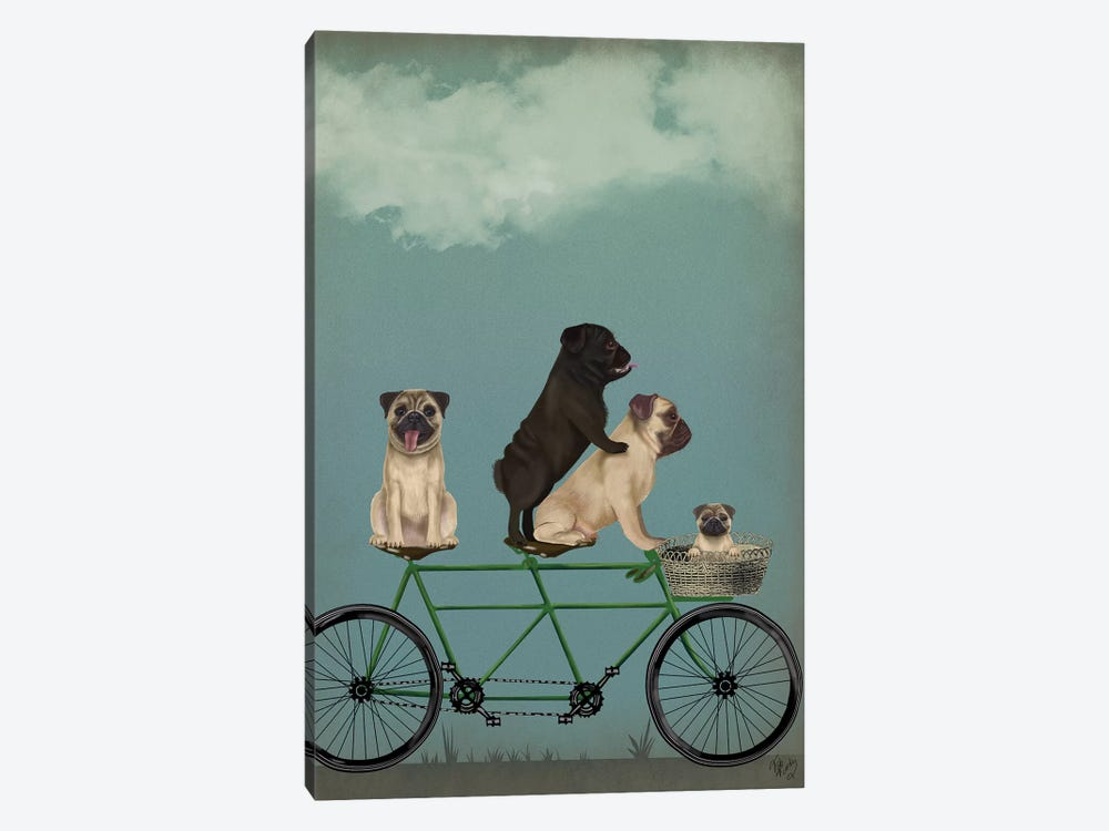 Pug Tandem by Fab Funky 1-piece Canvas Artwork