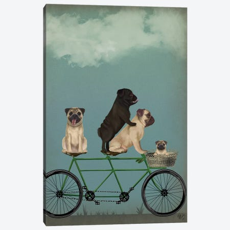 Pug Tandem 3-Piece Canvas #FNK758} by Fab Funky Canvas Art