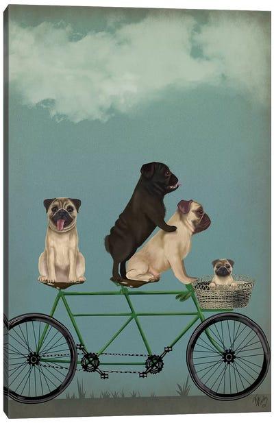 Pug Tandem Canvas Art Print