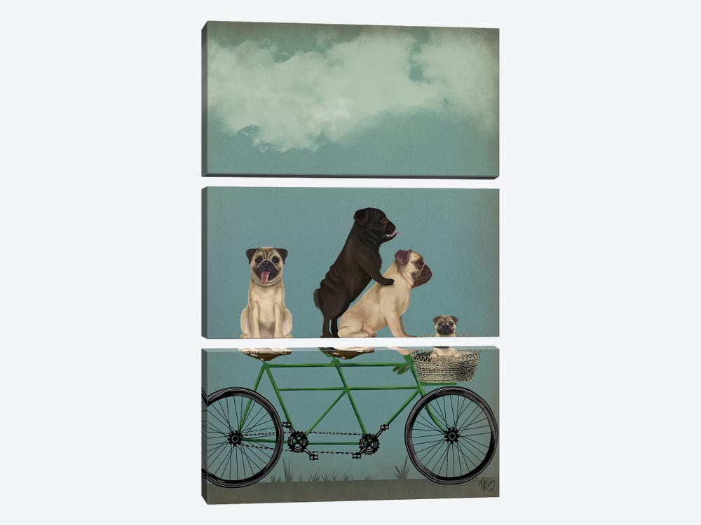 Pug Tandem by Fab Funky 3-piece Canvas Art