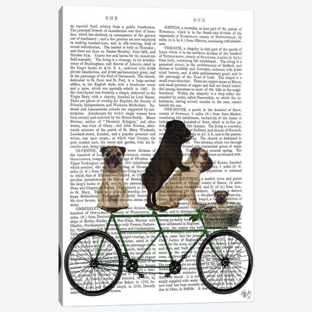 Pug Tandem, Print BG Canvas Print #FNK759} by Fab Funky Canvas Wall Art