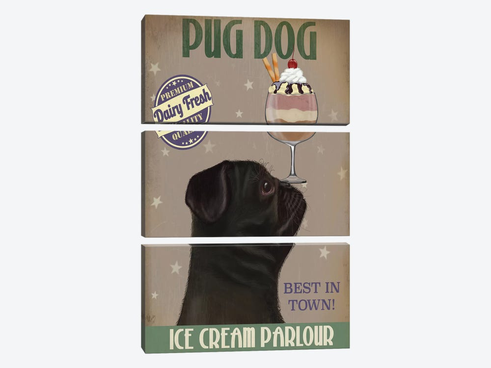Pug, Black, Ice Cream by Fab Funky 3-piece Canvas Print