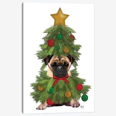 Pug, Christmas Tree Costume Canvas Print #FNK762} by Fab Funky Art Print