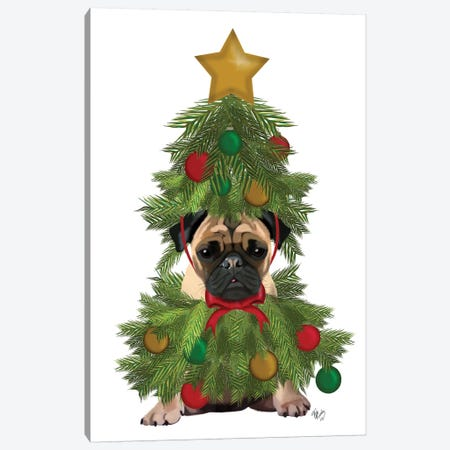 Pug, Christmas Tree Costume Canvas Print #FNK762} by Fab Funky Art Print